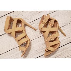 GLAZE Women's 8 Tan Strappy Buckle Heel Sa…